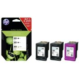 Original Ink Cartridge HP 2x 301BK + 301C (E5Y87EE) for HP Deskjet 2542 All-in-One Printer