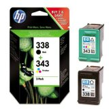 Original Ink Cartridges HP 338 + 343 (SD449EE) for HP Photosmart C3170