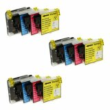 3x Compatible Ink Cartridges LC-1100 CMYK (LC1100VALBP) for Brother DCP-395 CN